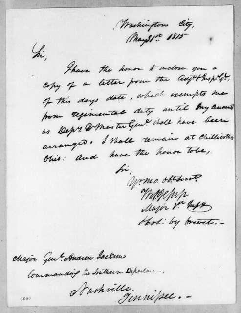 Thomas Sidney Jesup to Andrew Jackson, May 31, 1815