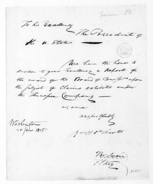 Thomas Swann to James Madison, June 28, 1815.