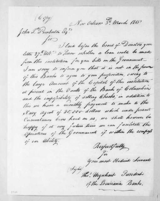 Thomas Urquhart to John T. Pemberton, March 3, 1815