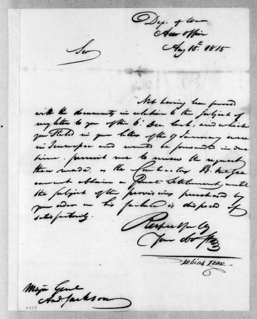 Tobias Lear to Andrew Jackson, August 18, 1815