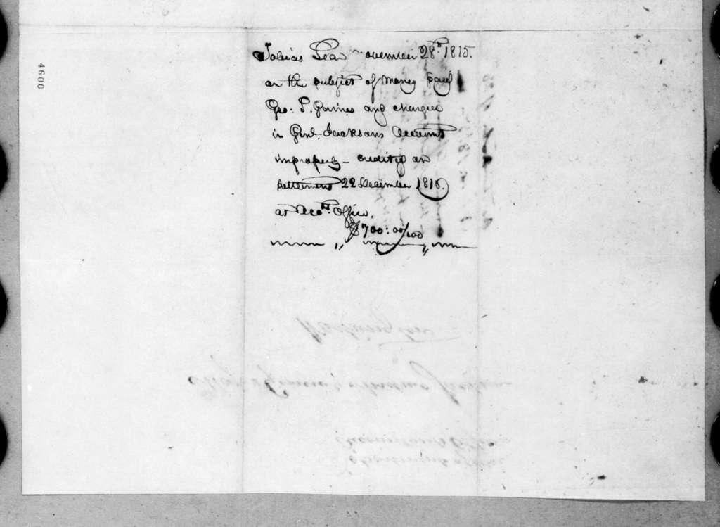 Tobias Lear to Andrew Jackson, November 28, 1815
