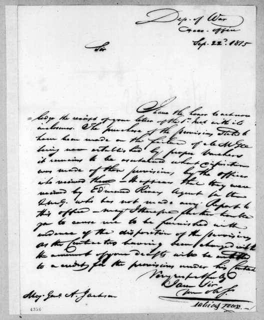 Tobias Lear to Andrew Jackson, September 22, 1815