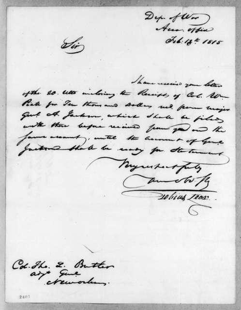 Tobias Lear to Thomas Langford Butler, February 13, 1815