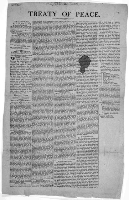 Treaty of peace. Argus Office. Portland, Feb. 22, 1815.