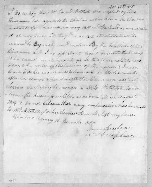 Turner Brashears, December 12, 1815