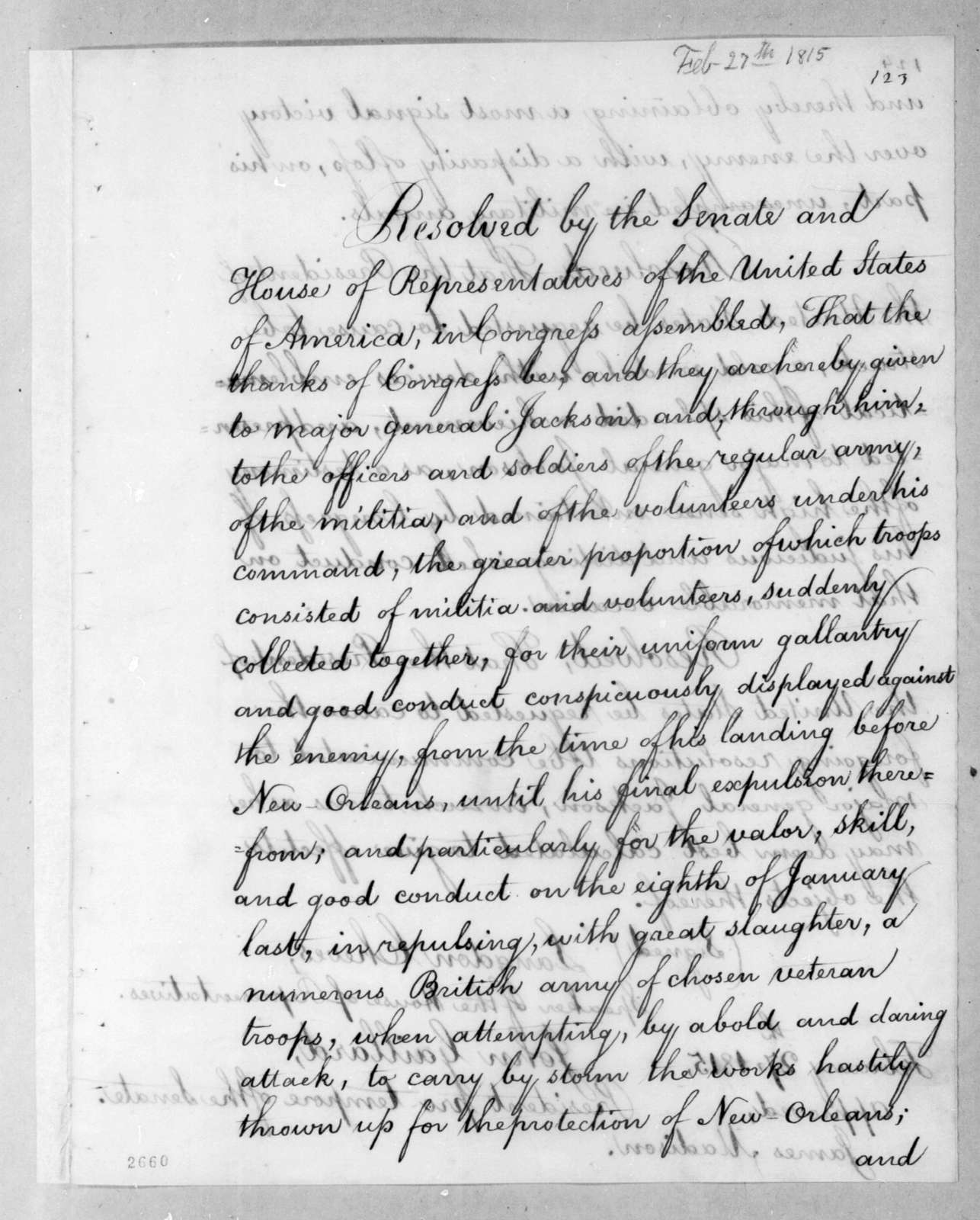 United States Congress, February 27, 1815