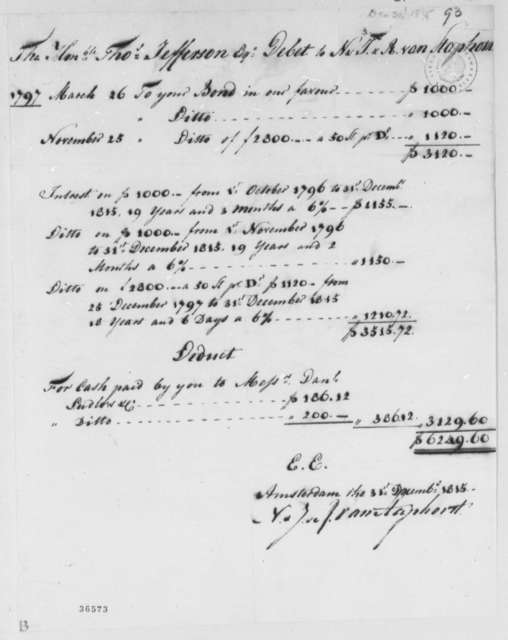 Van Staphorst & Hubbard to Thomas Jefferson, December 31, 1815, Account