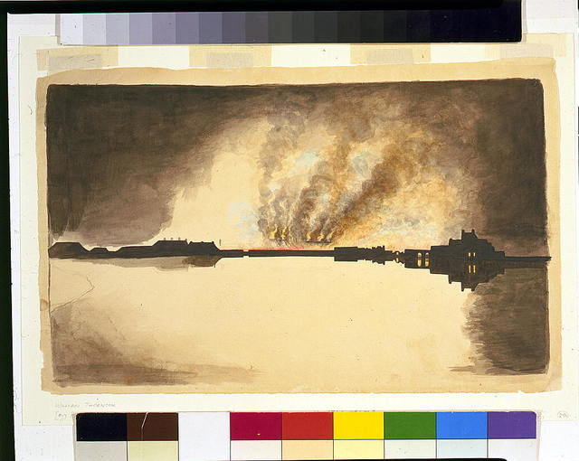 [Waterfront fire, probably burning of the Washington Navy Yard, 1814, Anacostia River, Washington, D.C.]