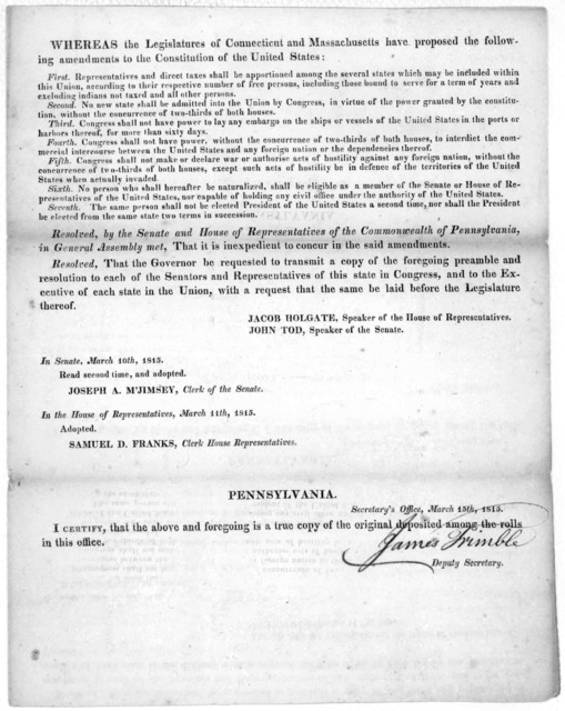 Whereas the Legislatures of Connecticut and Massachusetts have proposed the following amendments to the constitution of the United States [7 resolutions] Resolved by the Senate and House of representatives of the Commonwealth of Pennsylvania, in