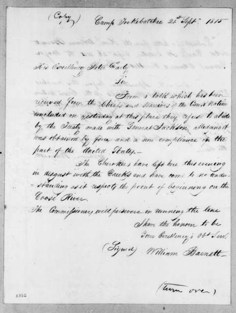 William Barnett to Peter Early, September 21, 1815