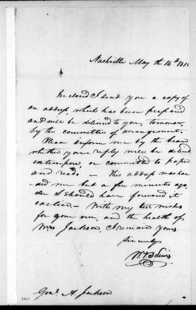 William Berkeley Lewis to Andrew Jackson, May 14, 1815