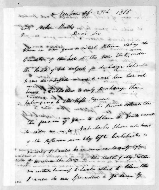 William Bradford to Robert Butler, September 28, 1815