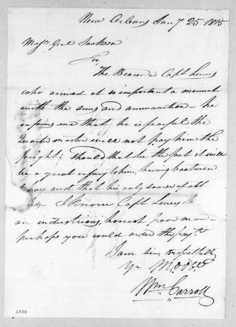 William Carroll to Andrew Jackson, January 25, 1815