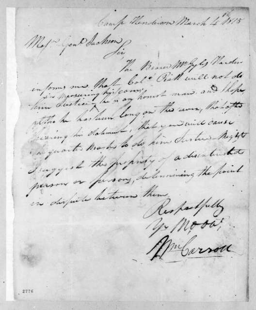William Carroll to Andrew Jackson, March 4, 1815
