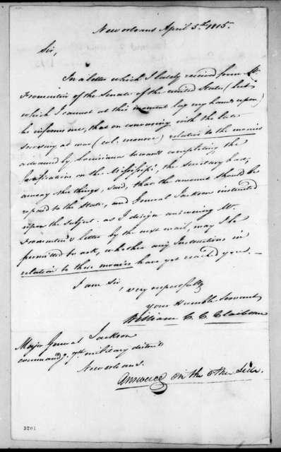 William Charles Cole Claiborne to Andrew Jackson, April 5, 1815