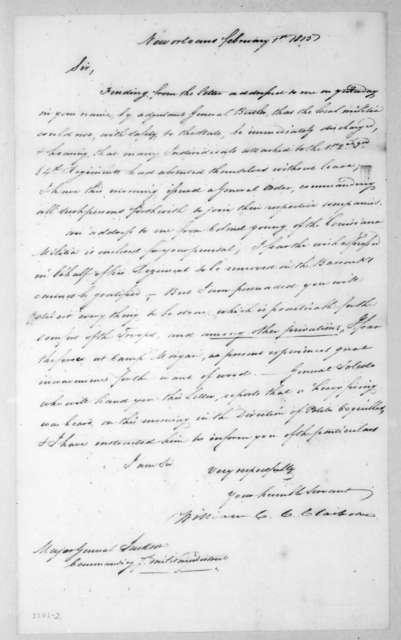 William Charles Cole Claiborne to Andrew Jackson, February 1, 1815
