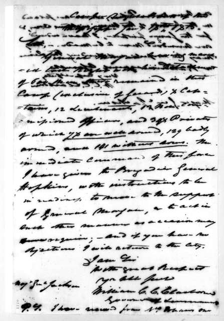 William Charles Cole Claiborne to Andrew Jackson, January 18, 1815