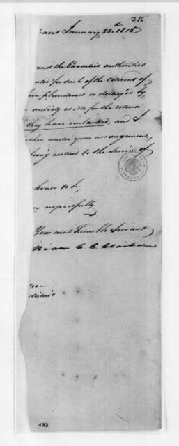 William Charles Cole Claiborne to Unknown, January 28, 1815