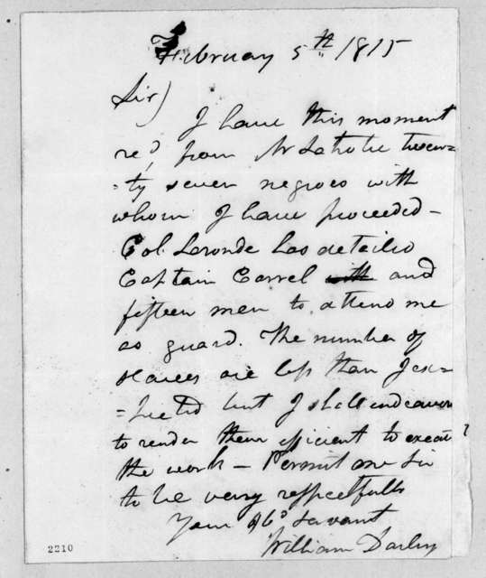 William Darby to Andrew Jackson, February 5, 1815