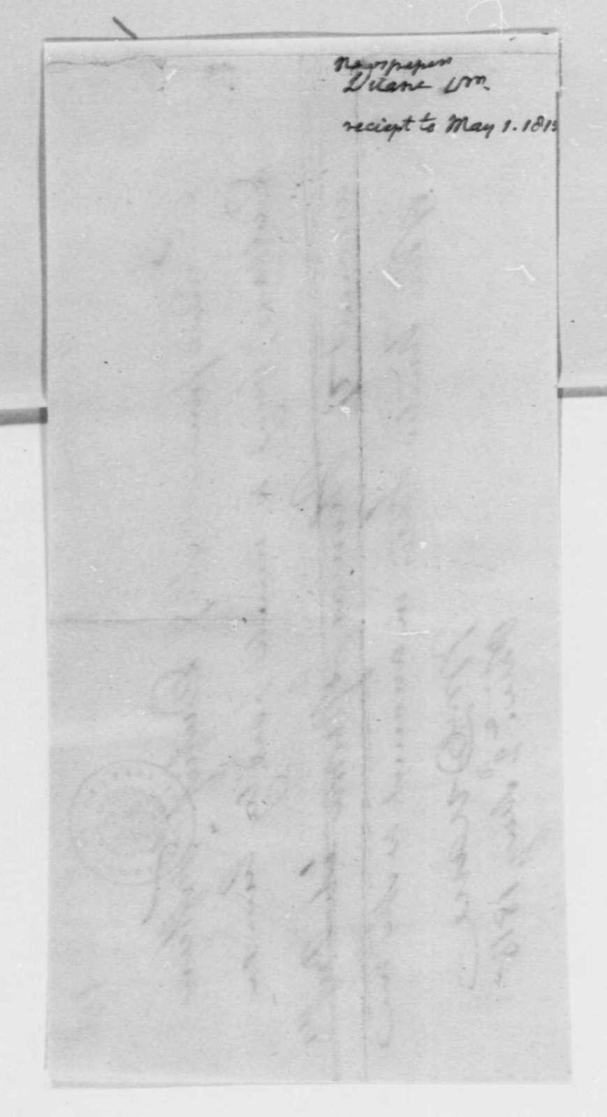 William Duane to Nicholas Gouin Dufief, May 2, 1815, Receipt
