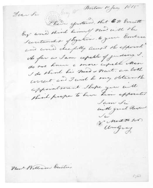 William Gray to William Eustis, January 10, 1815.