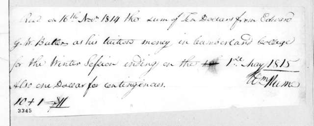 William Hume to Edward George Washington Butler, May 1, 1815