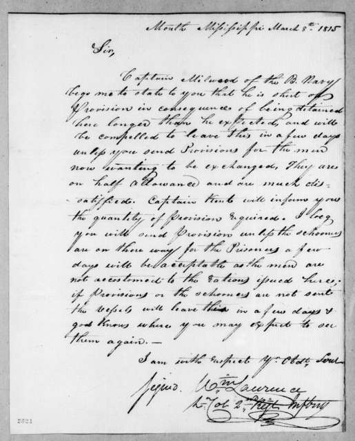 William Lawrence to Unknown, March 8, 1815