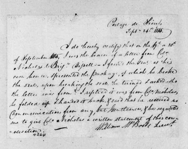 William McBride, September 24, 1815