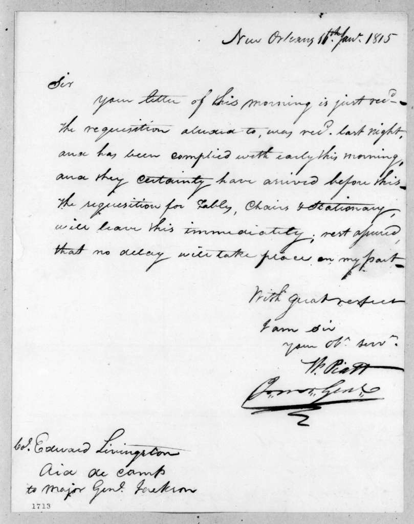 William Piatt to Edward Livingston, January 16, 1815