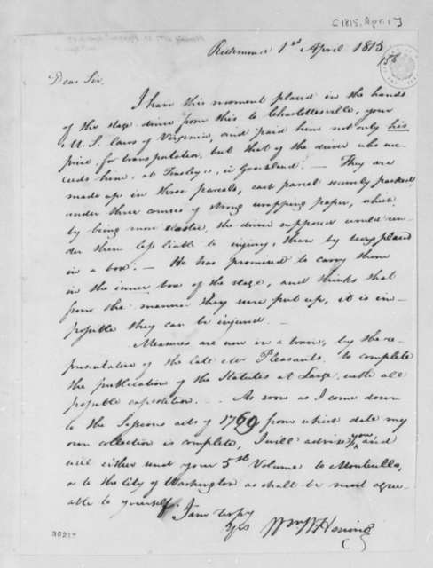 William Waller Hening to Thomas Jefferson, April 1, 1815