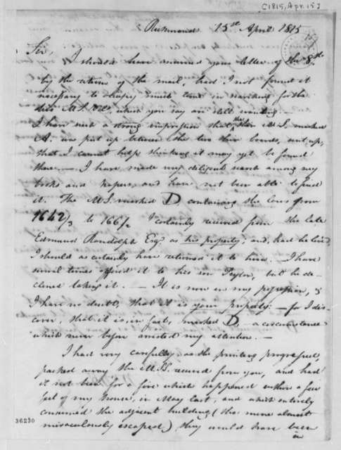 William Waller Hening to Thomas Jefferson, April 15, 1815