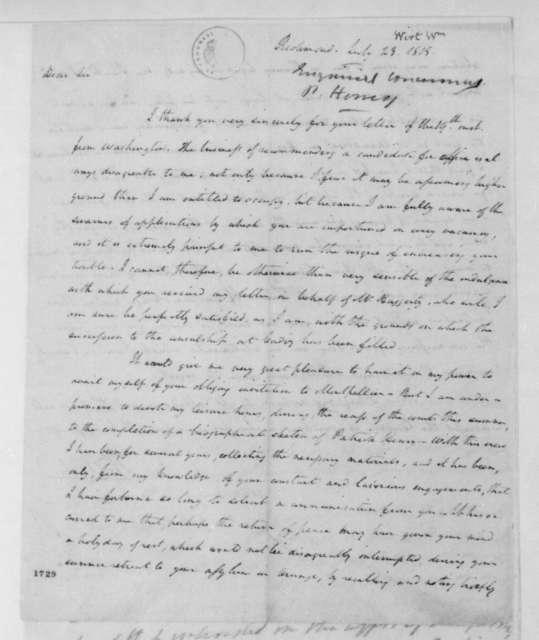 William Wirt to James Madison, July 23, 1815.