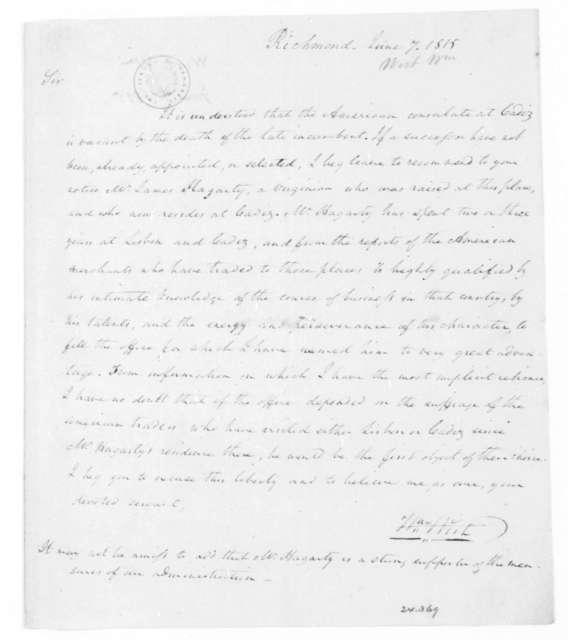 William Wirt to James Madison, June 7, 1815.