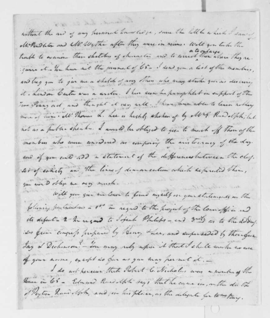 William Wirt to Thomas Jefferson, July 24, 1815, with Notes