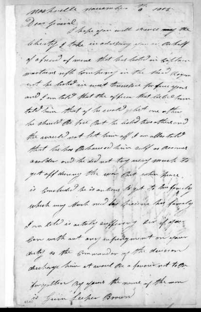 William Young to Andrew Jackson, November 6, 1815