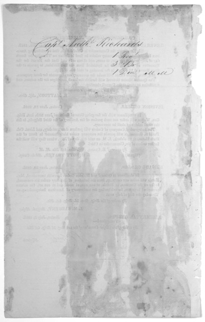 [5 pages of general, division, brigade and regimental orders from headquarters of the first division of Mass, dated from June 1816 - Oct. 1817.] [Boston, 1816-1817].