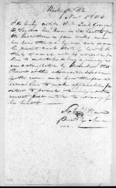 A. Blair, November 5, 1816