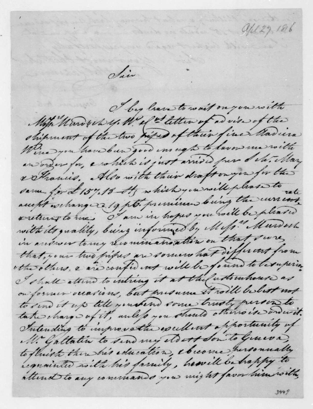 A. C. Cazenove to James Madison, April 27, 1816.
