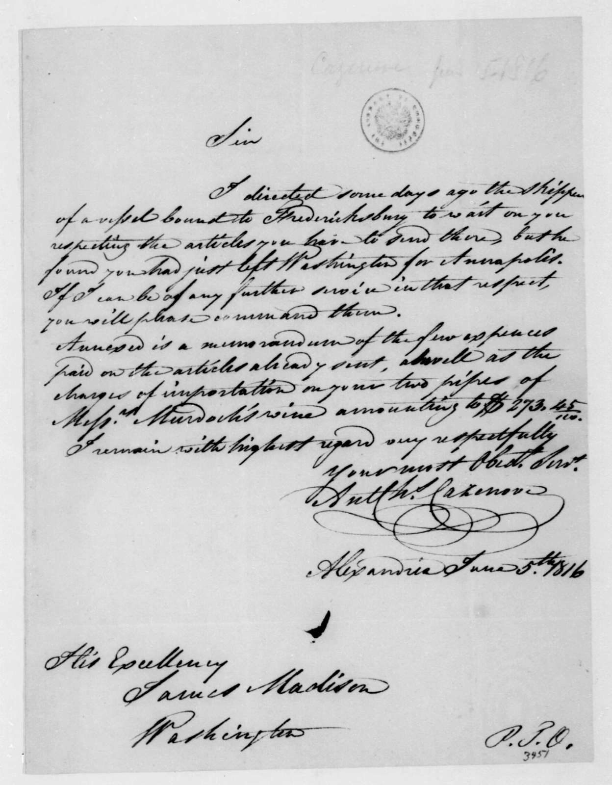 A. C. Cazenove to James Madison, June 5, 1816.
