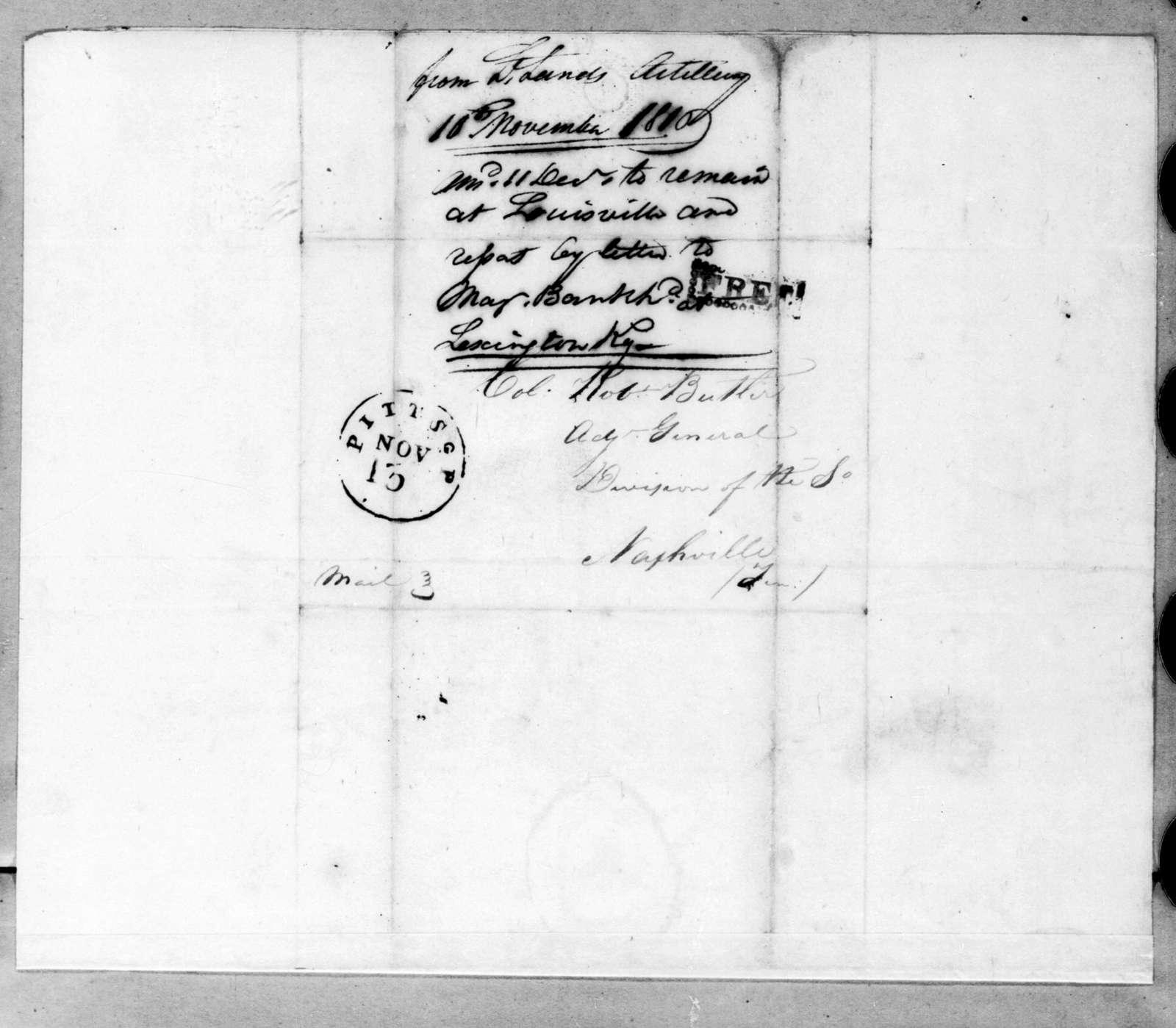 A. L. Lands to Robert Butler, November 10, 1816
