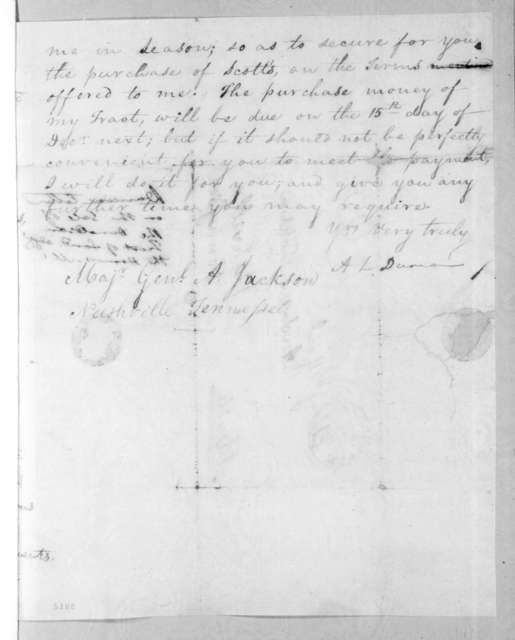 Abner Lawson Duncan to Andrew Jackson, April 23, 1816