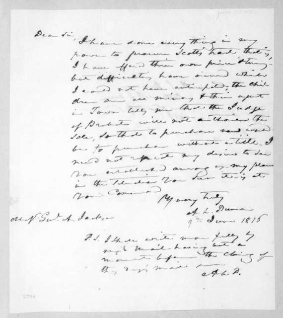 Abner Lawson Duncan to Andrew Jackson, June 9, 1816