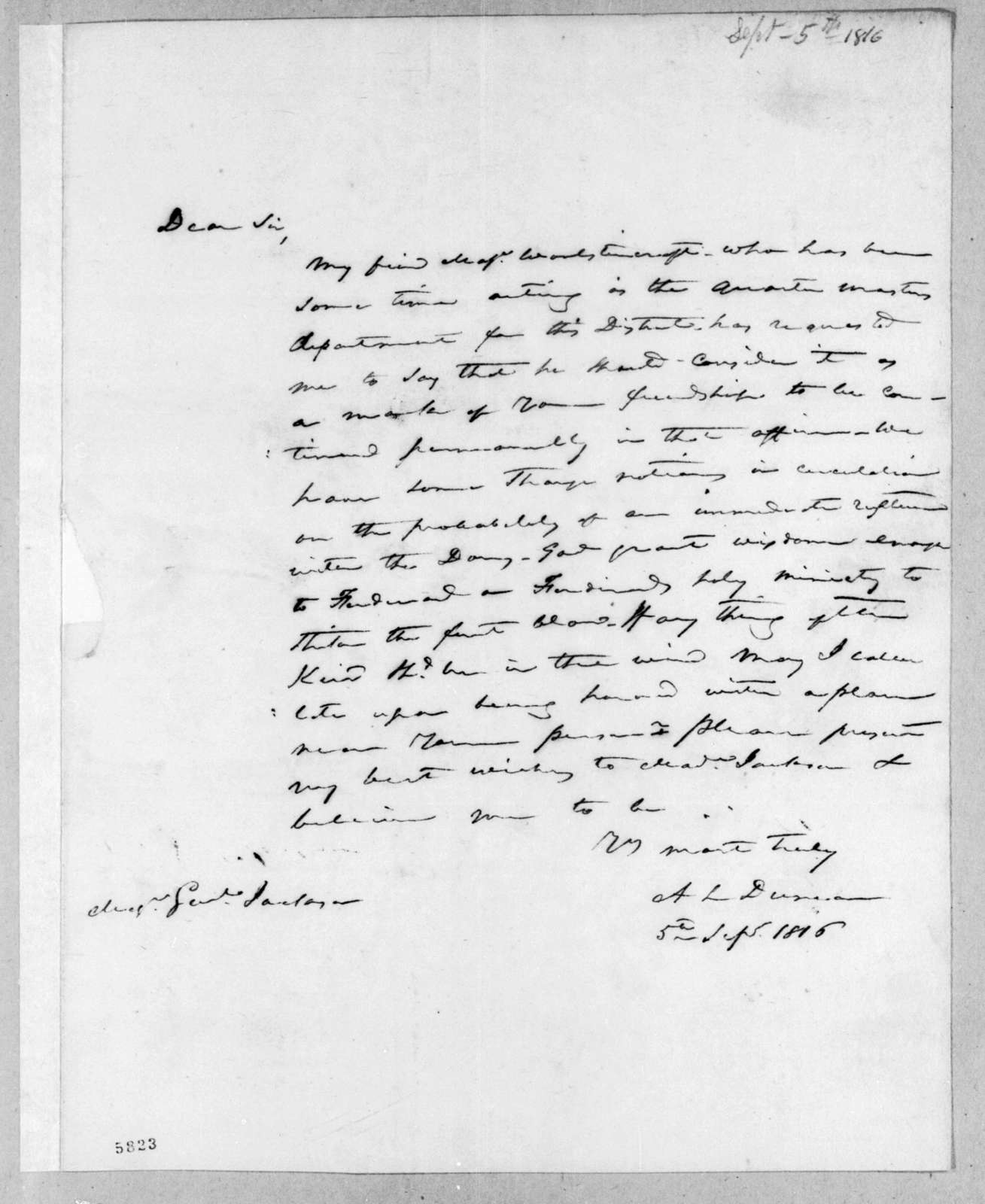 Abner Lawson Duncan to Andrew Jackson, September 5, 1816