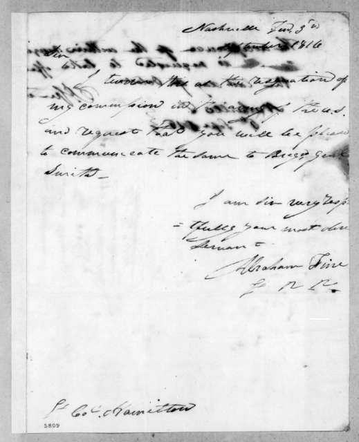 Abraham Fine to William Southerland Hamilton, September 5, 1816