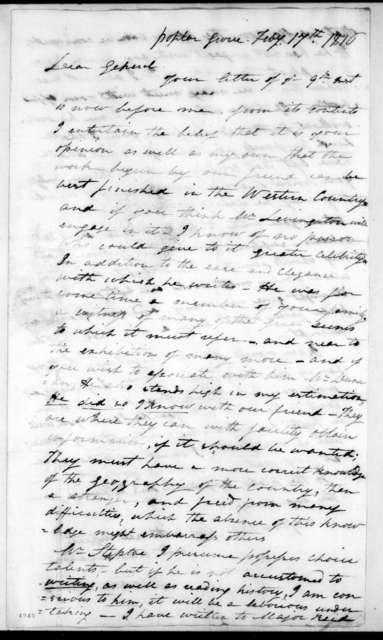 Abram Maury to Andrew Jackson, February 17, 1816