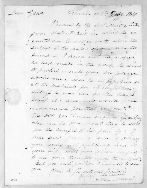 Abram Maury to Andrew Jackson, February 8, 1816