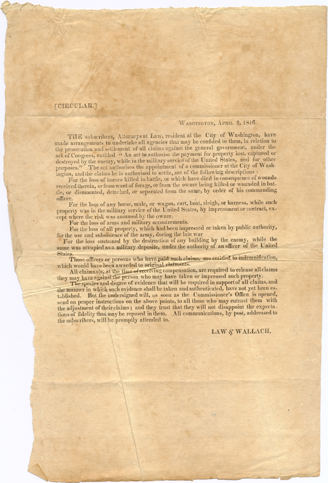 Advertising circular noting that cases will be accepted against the government for loss of any property due to military action