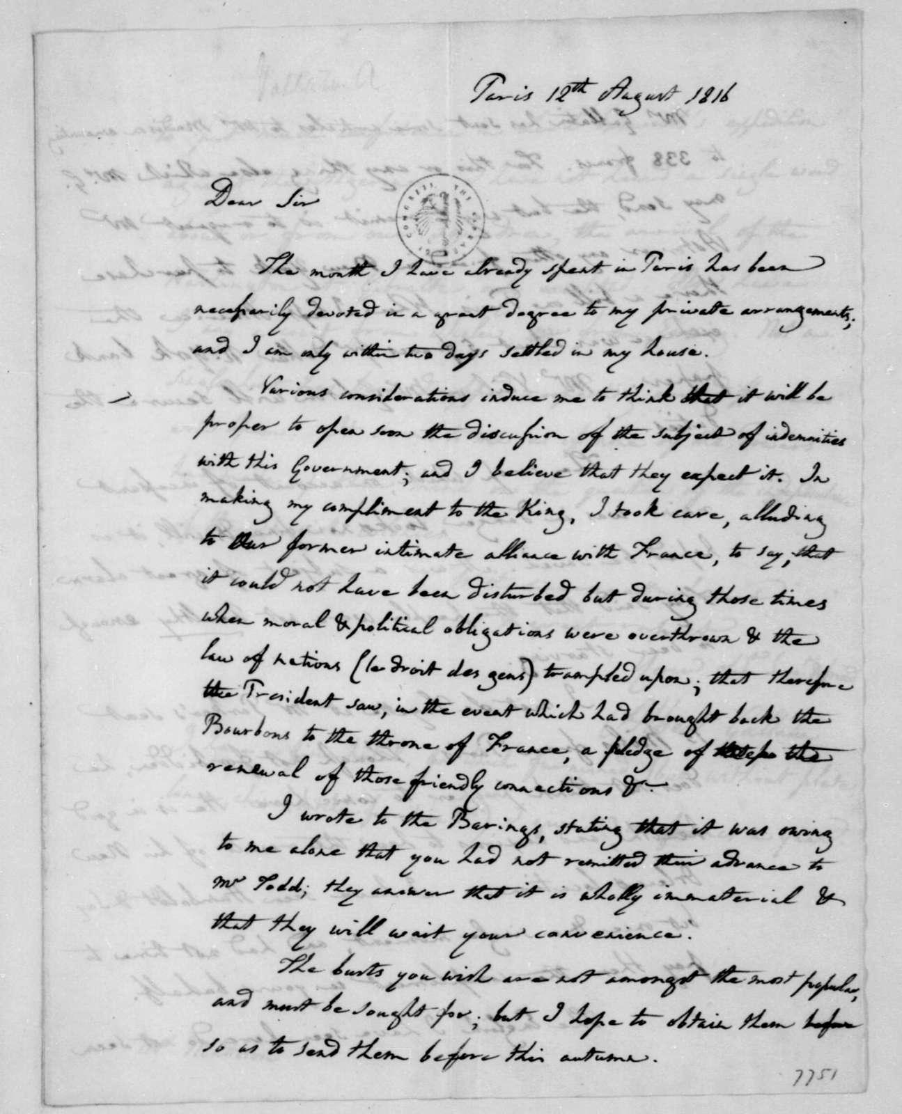 Albert Gallatin to James Madison, August 12, 1816.