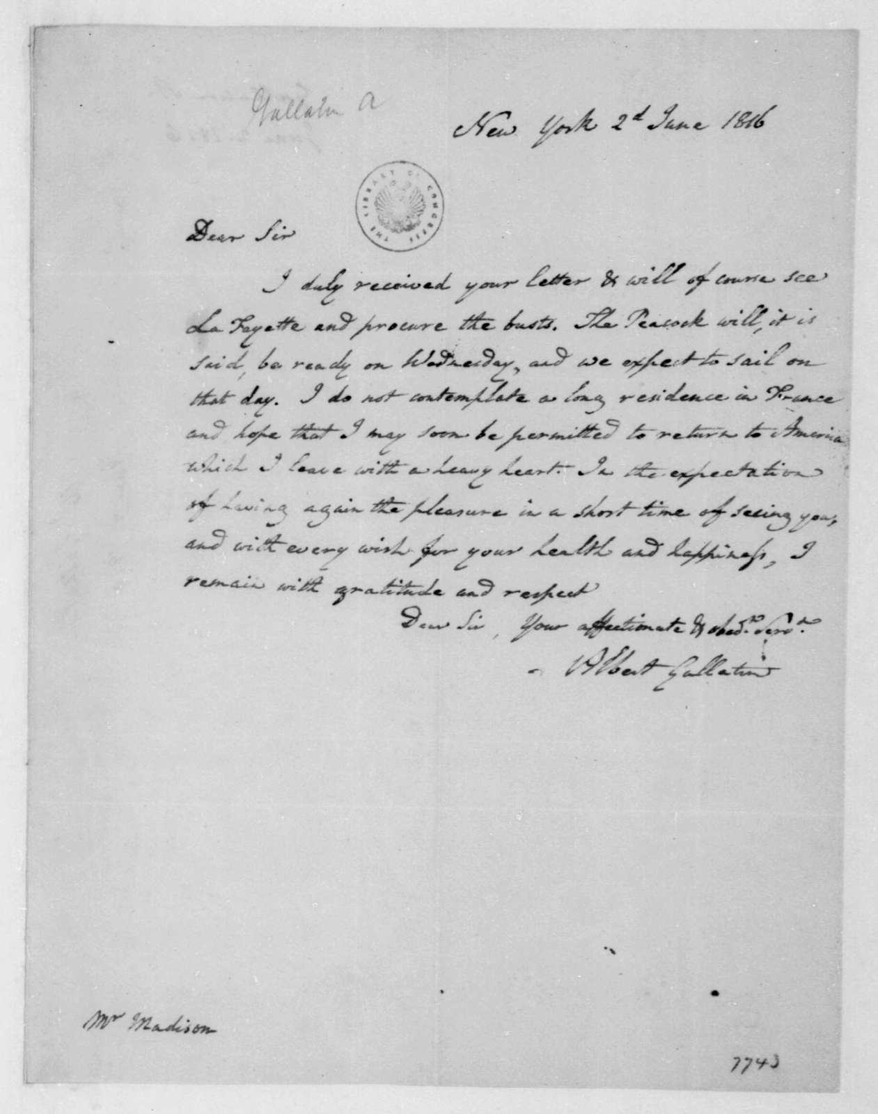 Albert Gallatin to James Madison, June 2, 1816.