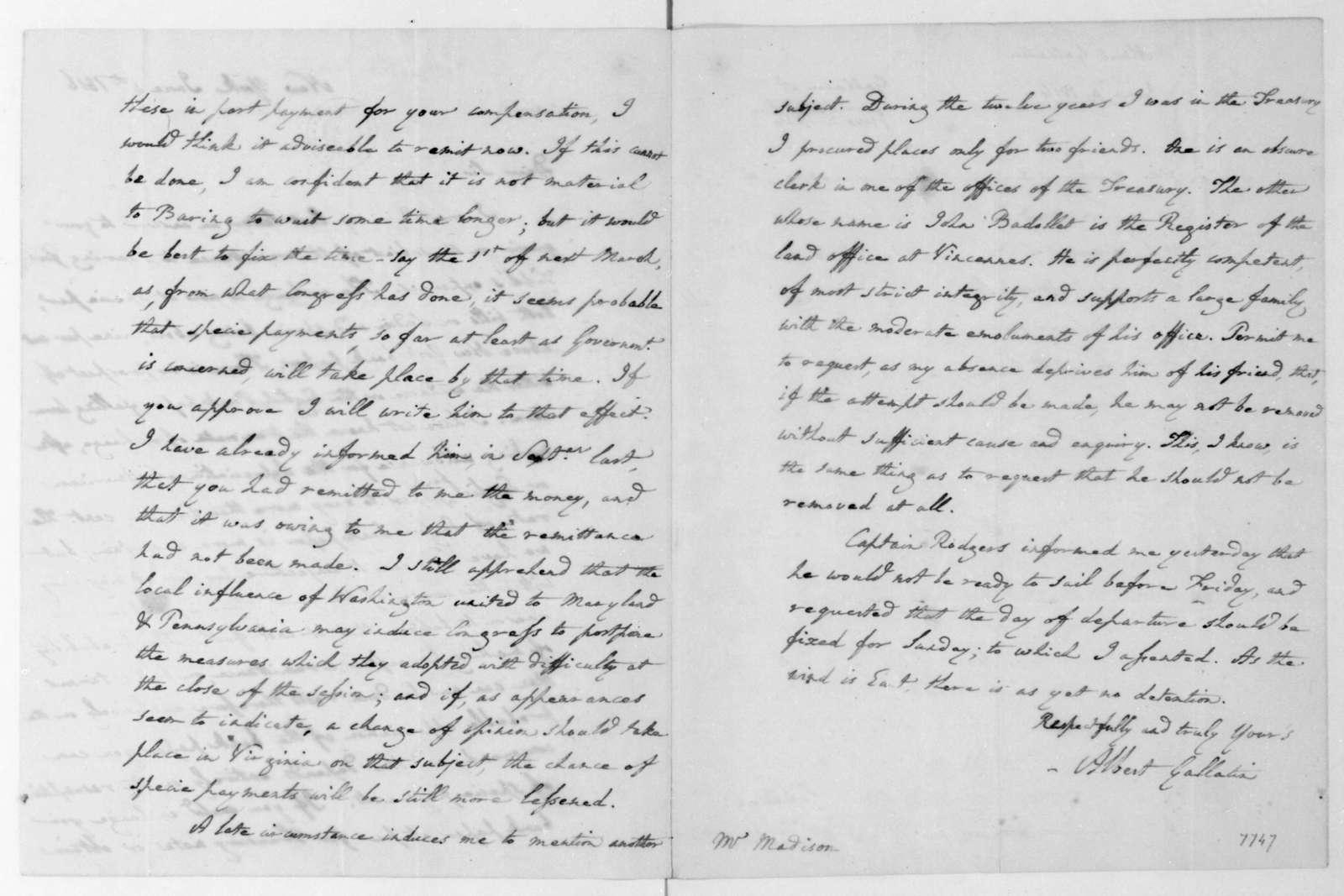 Albert Gallatin to James Madison, June 4, 1816.